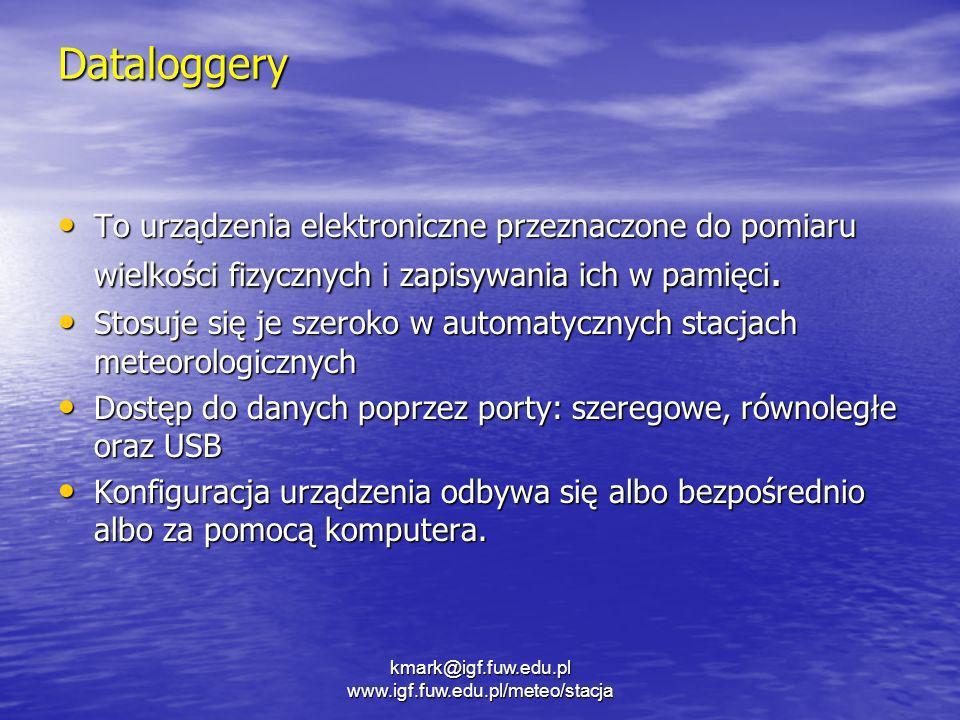 kmark@igf.fuw.edu.pl www.igf.fuw.edu.pl/meteo/stacja Dataloggery To urządzenia elektroniczne przeznaczone do pomiaru wielkości fizycznych i zapisywani