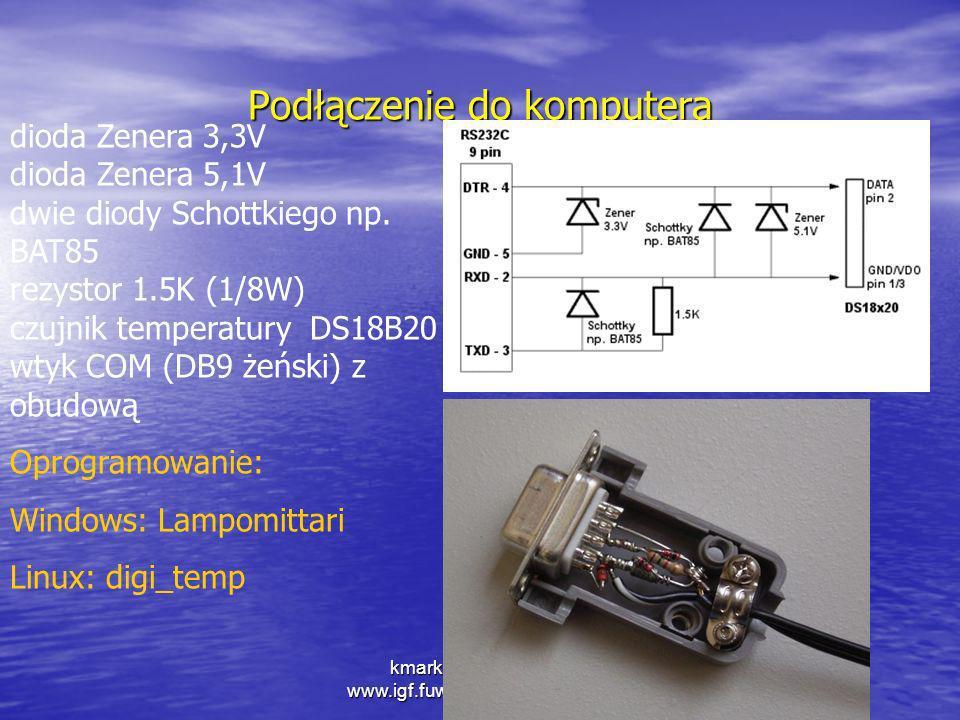 kmark@igf.fuw.edu.pl www.igf.fuw.edu.pl/meteo/stacja Podłączenie do komputera dioda Zenera 3,3V dioda Zenera 5,1V dwie diody Schottkiego np. BAT85 rez
