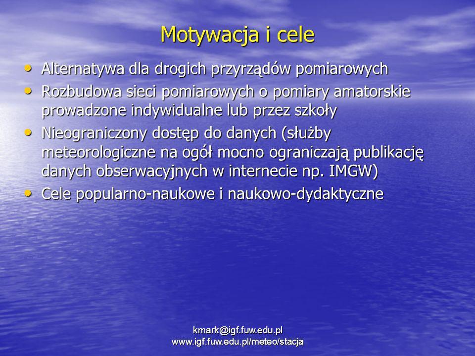 kmark@igf.fuw.edu.pl www.igf.fuw.edu.pl/meteo/stacja Motywacja i cele Alternatywa dla drogich przyrządów pomiarowych Alternatywa dla drogich przyrządó