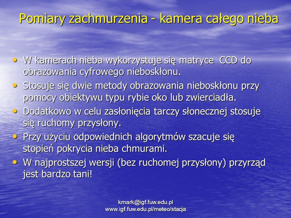 kmark@igf.fuw.edu.pl www.igf.fuw.edu.pl/meteo/stacja Pomiary zachmurzenia - kamera całego nieba W kamerach nieba wykorzystuje się matryce CCD do obraz