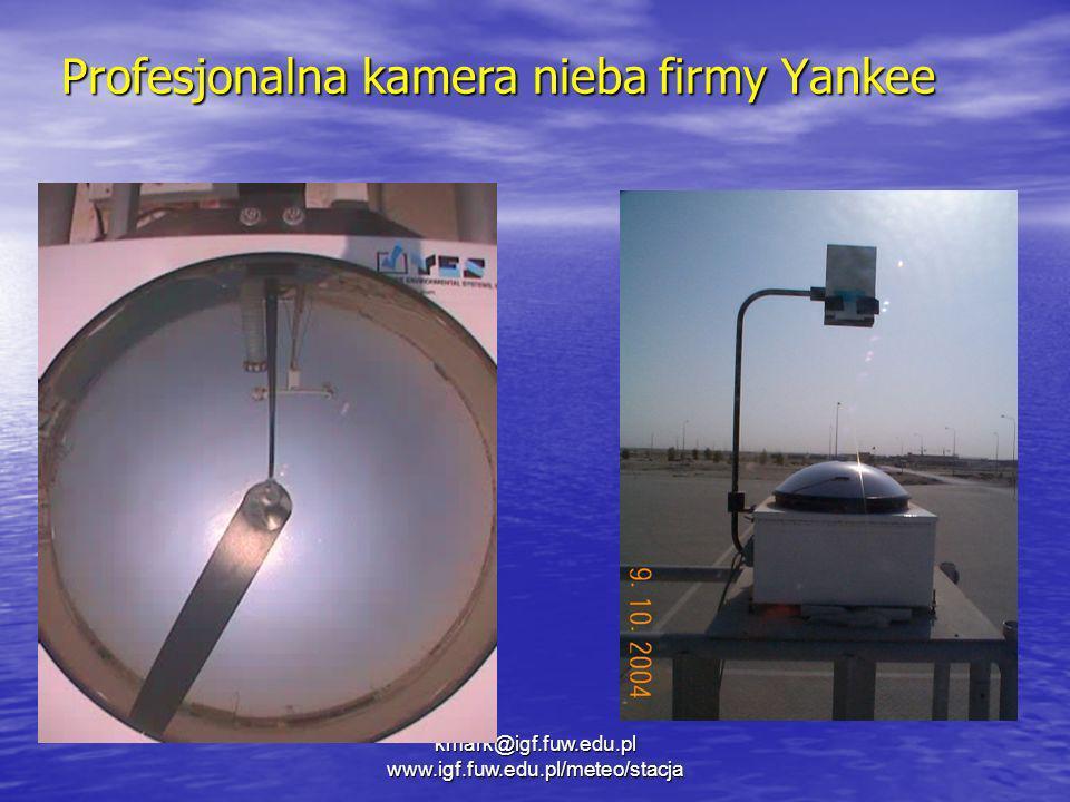 kmark@igf.fuw.edu.pl www.igf.fuw.edu.pl/meteo/stacja Profesjonalna kamera nieba firmy Yankee