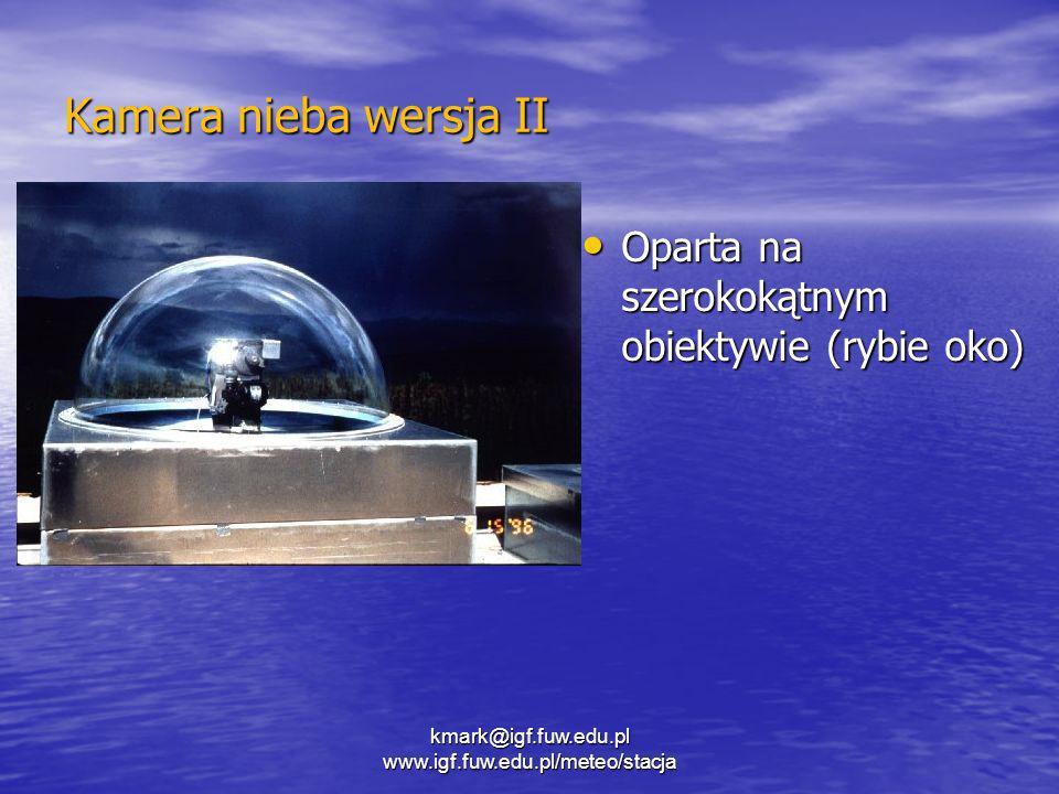 kmark@igf.fuw.edu.pl www.igf.fuw.edu.pl/meteo/stacja Kamera nieba wersja II Oparta na szerokokątnym obiektywie (rybie oko) Oparta na szerokokątnym obi