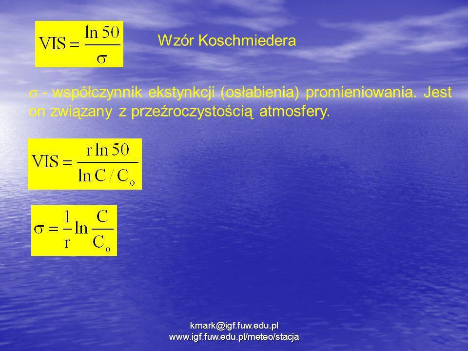 kmark@igf.fuw.edu.pl www.igf.fuw.edu.pl/meteo/stacja Wzór Koschmiedera - współczynnik ekstynkcji (osłabienia) promieniowania. Jest on związany z przeź