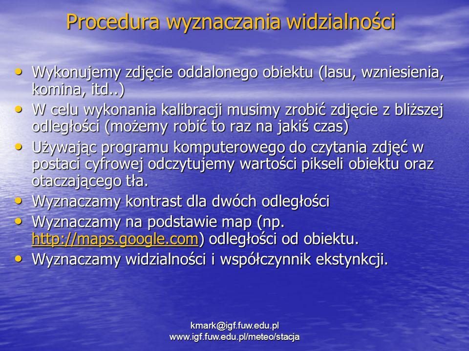 kmark@igf.fuw.edu.pl www.igf.fuw.edu.pl/meteo/stacja Procedura wyznaczania widzialności Wykonujemy zdjęcie oddalonego obiektu (lasu, wzniesienia, komi