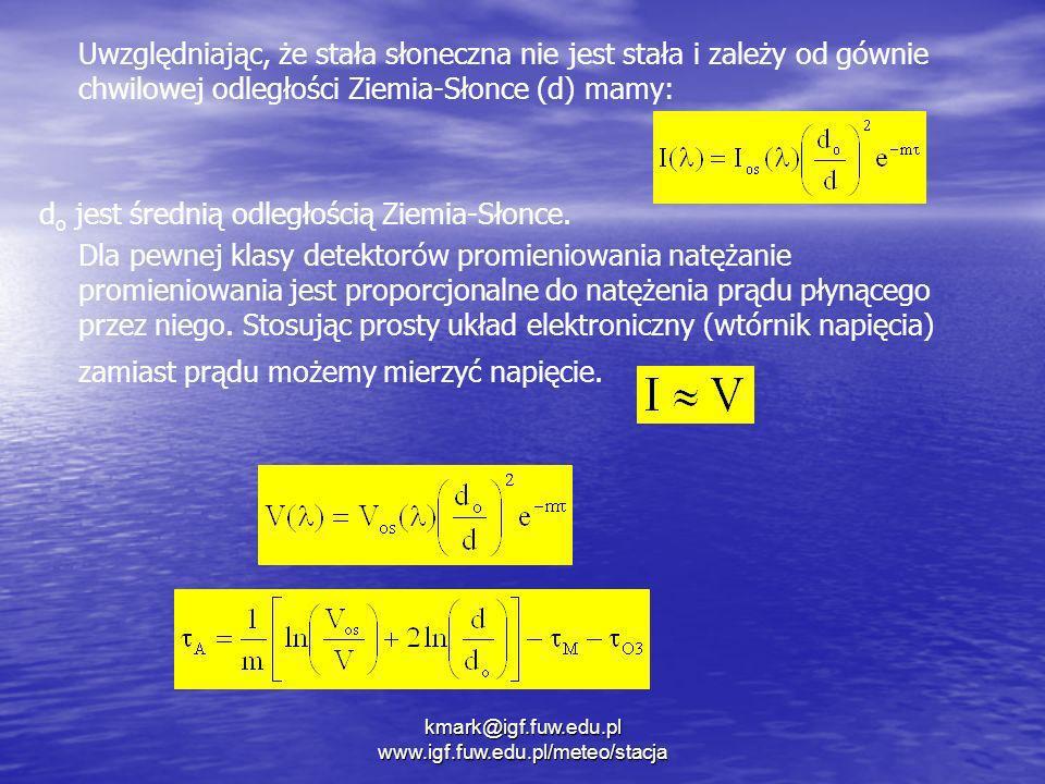 kmark@igf.fuw.edu.pl www.igf.fuw.edu.pl/meteo/stacja Uwzględniając, że stała słoneczna nie jest stała i zależy od gównie chwilowej odległości Ziemia-S