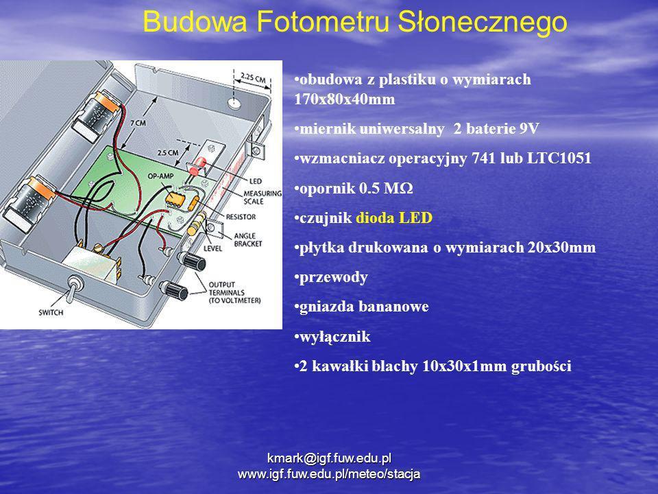 kmark@igf.fuw.edu.pl www.igf.fuw.edu.pl/meteo/stacja obudowa z plastiku o wymiarach 170x80x40mm miernik uniwersalny 2 baterie 9V wzmacniacz operacyjny