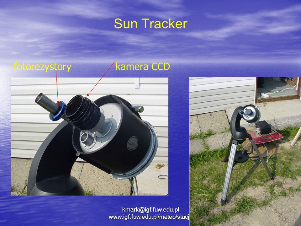 kmark@igf.fuw.edu.pl www.igf.fuw.edu.pl/meteo/stacja Sun Tracker fotorezystorykamera CCD