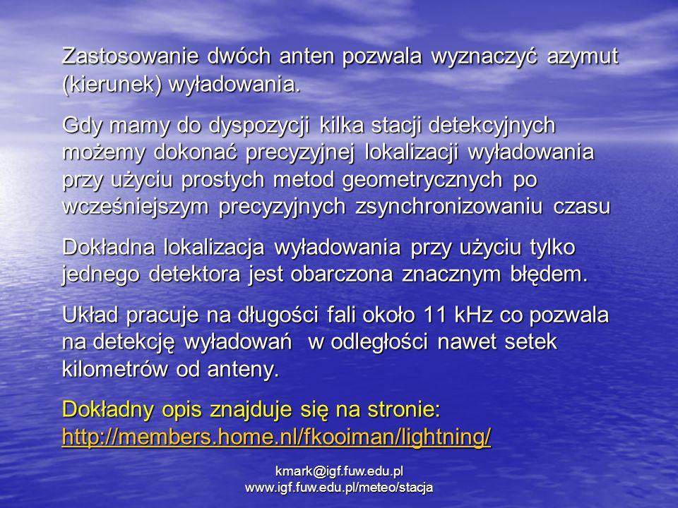 kmark@igf.fuw.edu.pl www.igf.fuw.edu.pl/meteo/stacja Zastosowanie dwóch anten pozwala wyznaczyć azymut (kierunek) wyładowania. Gdy mamy do dyspozycji