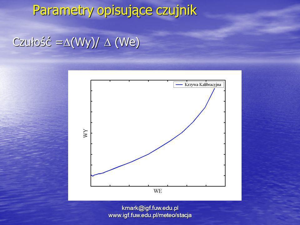 kmark@igf.fuw.edu.pl www.igf.fuw.edu.pl/meteo/stacja Parametry opisujące czujnik Czułość = (Wy)/ (We)