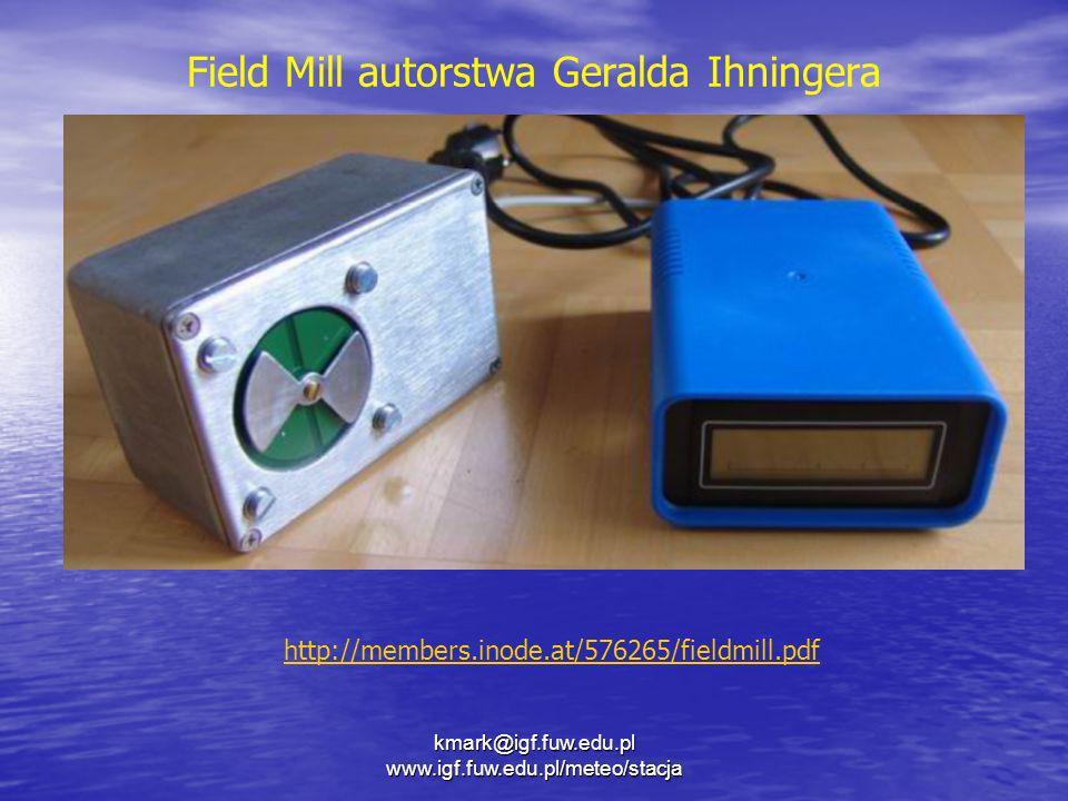kmark@igf.fuw.edu.pl www.igf.fuw.edu.pl/meteo/stacja Field Mill autorstwa Geralda Ihningera http://members.inode.at/576265/fieldmill.pdf