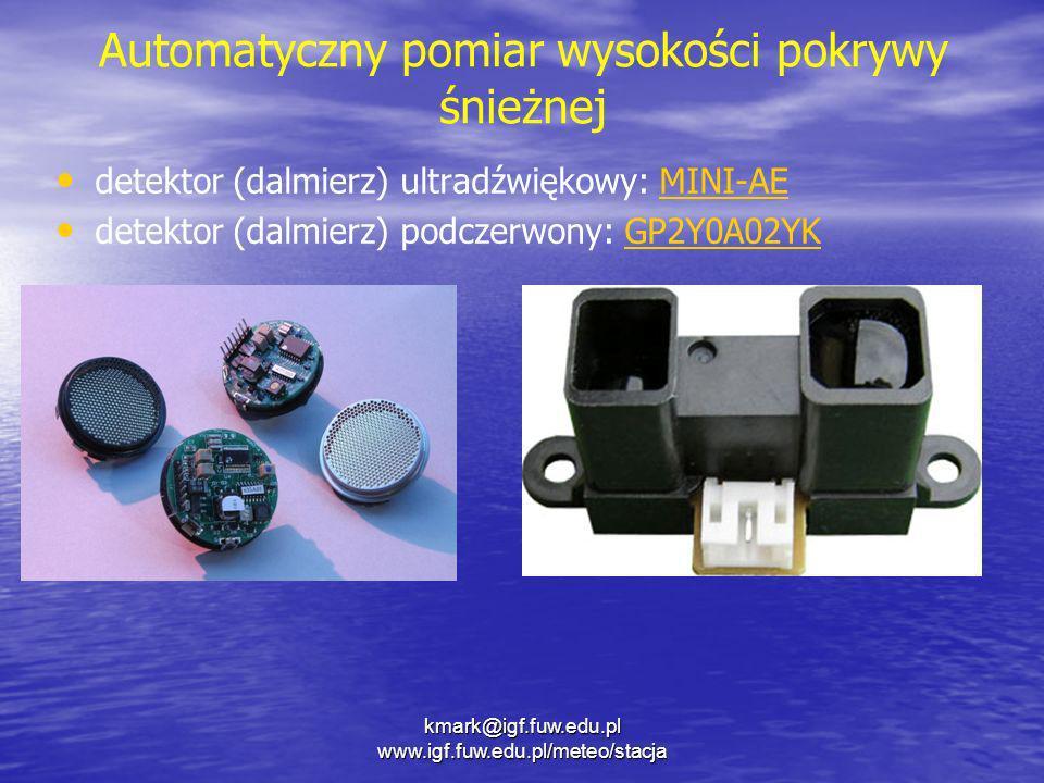 kmark@igf.fuw.edu.pl www.igf.fuw.edu.pl/meteo/stacja Automatyczny pomiar wysokości pokrywy śnieżnej detektor (dalmierz) ultradźwiękowy: MINI-AEMINI-AE