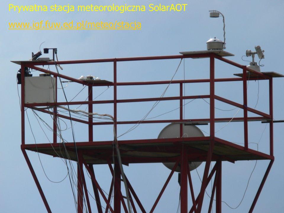 kmark@igf.fuw.edu.pl www.igf.fuw.edu.pl/meteo/stacja 11/12/2013 Prywatna stacja meteorologiczna SolarAOT www.igf.fuw.ed.pl/meteo/stacja