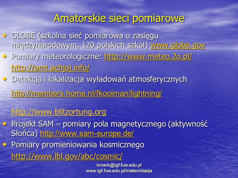 Amatorskie sieci pomiarowe GLOBE (szkolna sieć pomiarowa o zasięgu międzynarodowym, 120 polskich szkół) www.globe.gov GLOBE (szkolna sieć pomiarowa o
