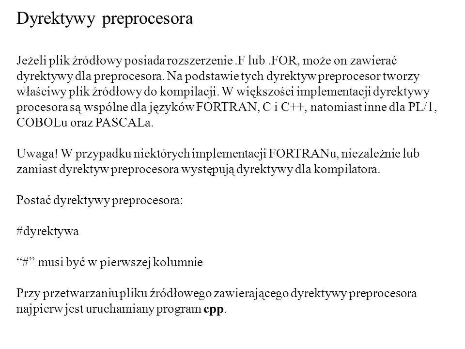 DyrektywaArgumentyZnaczenie #defineŁańcuch tekstowy Definiowanie symbolu a w C i C++ również stałych.