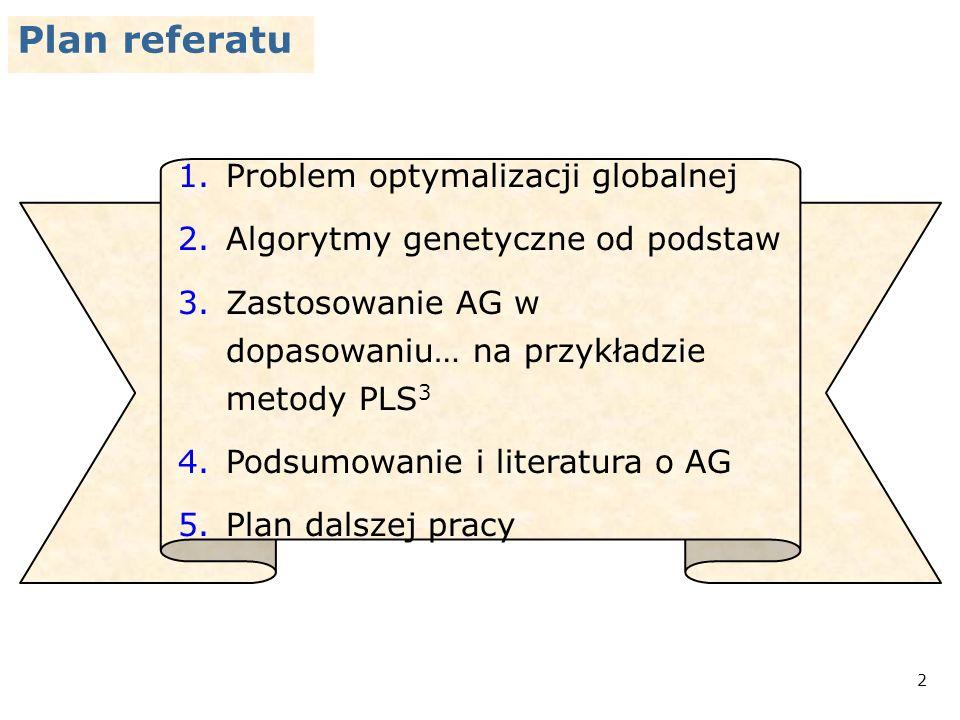 13 Proces dopasowania za pomocą AG FBD 5 parametrów N ss (E) Y PL * * * * * pokolenie pierwsze końcowe pośrednie