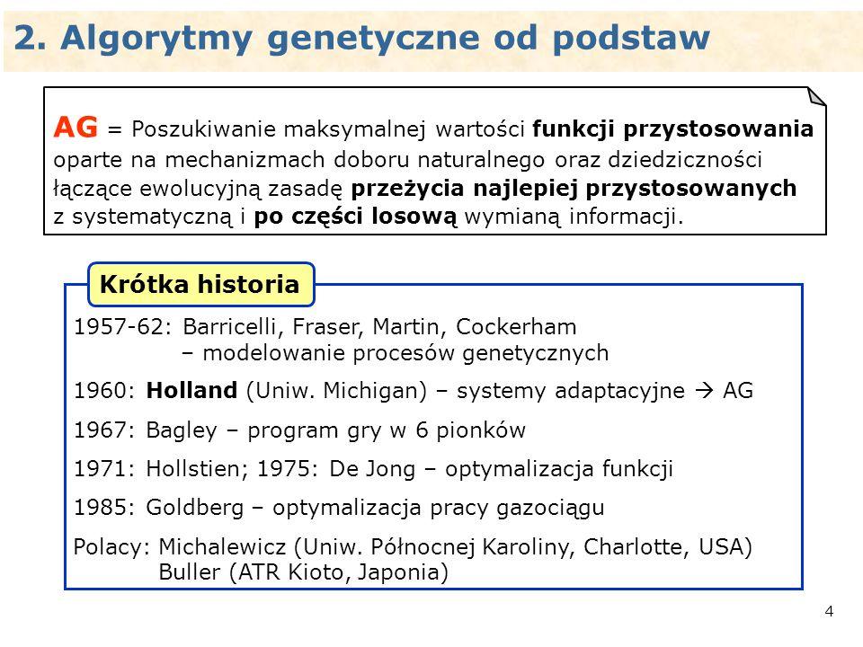 5 biologia (genetyka)komputer (AG) genbit chromosomciąg bitów osobnikpunkt w przestrzeni rozwiązań populacjazbiór punktów krzyżowaniewymiana ciągów bitów mutacjanegacja bitów DNA 00101010101011100 liczby tekst (ASCII, tex, doc) grafika (bmp, gif, jpeg) dźwięk (wav, midi, mp3) wideo (avi, mpeg) kod binarny Operowanie na kodzie.