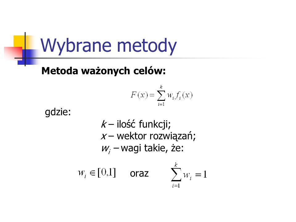 Wybrane metody Metoda ważonych celów: gdzie: k – ilość funkcji; x – wektor rozwiązań; w i – wagi takie, że: oraz