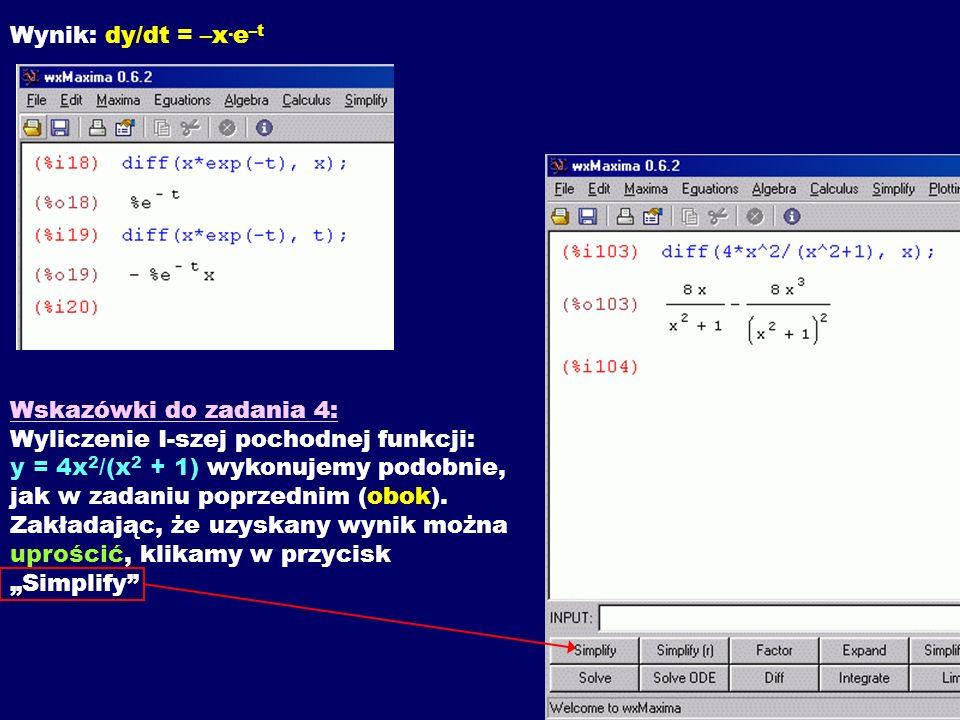Wynik: dy/dt = –x.