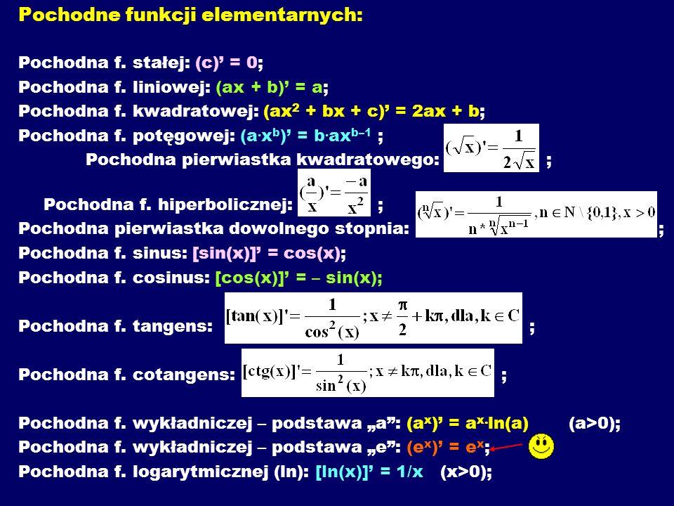 Pochodne funkcji elementarnych: Pochodna f.stałej: (c) = 0; Pochodna f.