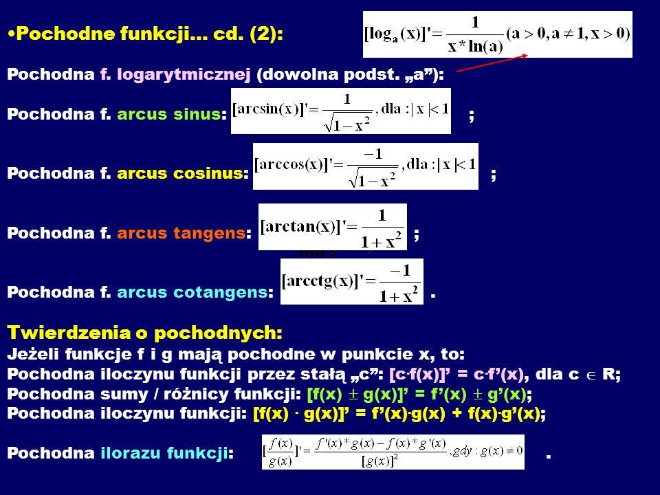 Pochodne funkcji...cd. (2): Pochodna f. logarytmicznej (dowolna podst.