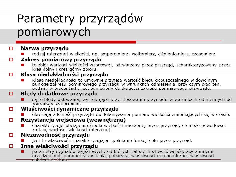 Parametry przyrządów pomiarowych Nazwa przyrządu Nazwa przyrządu rodzaj mierzonej wielkości, np. amperomierz, woltomierz, ciśnieniomierz, czasomierz r