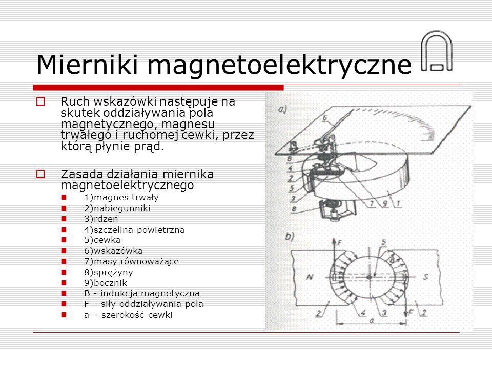 Mierniki magnetoelektryczne Ruch wskazówki następuje na skutek oddziaływania pola magnetycznego, magnesu trwałego i ruchomej cewki, przez którą płynie