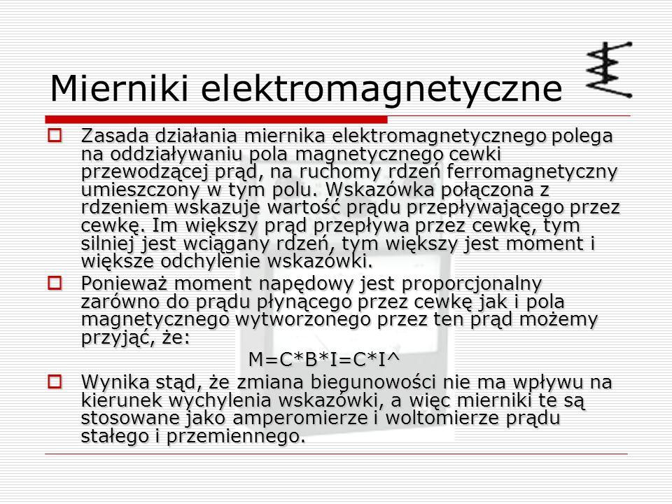 Mierniki elektromagnetyczne Zasada działania miernika elektromagnetycznego polega na oddziaływaniu pola magnetycznego cewki przewodzącej prąd, na ruch
