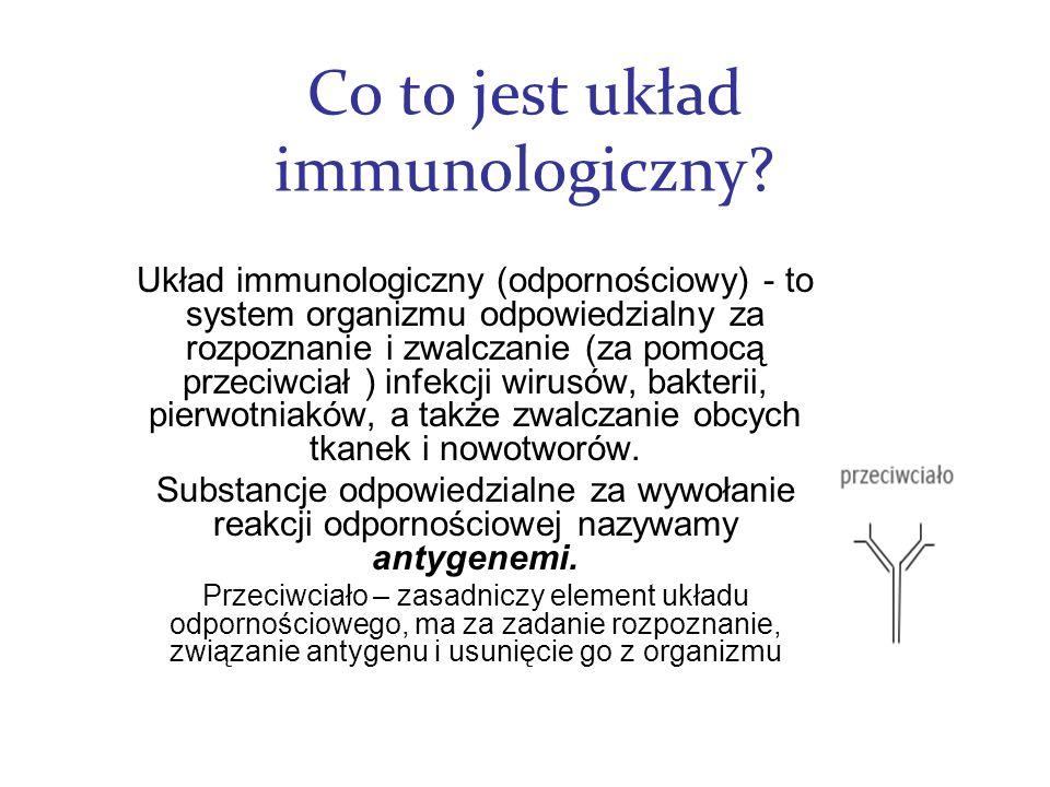 Co to jest układ immunologiczny? Układ immunologiczny (odpornościowy) - to system organizmu odpowiedzialny za rozpoznanie i zwalczanie (za pomocą prze