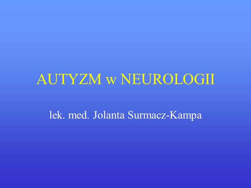 AUTYZM w NEUROLOGII lek. med. Jolanta Surmacz-Kampa