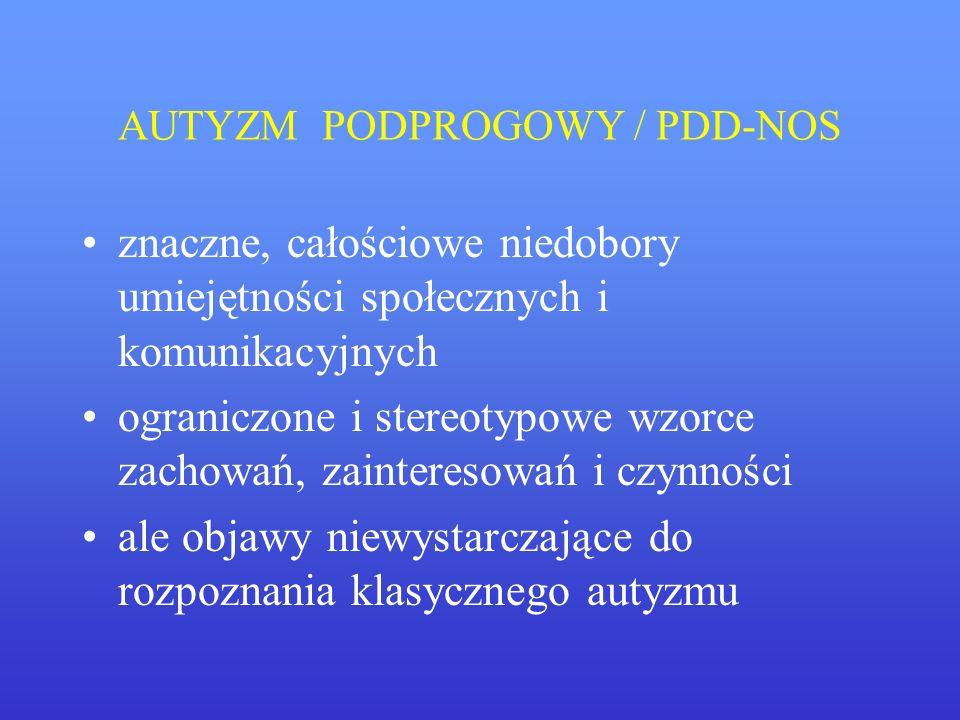 AUTYZM PODPROGOWY / PDD-NOS znaczne, całościowe niedobory umiejętności społecznych i komunikacyjnych ograniczone i stereotypowe wzorce zachowań, zaint