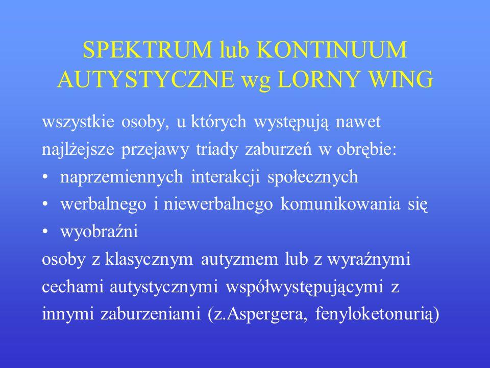 SPEKTRUM lub KONTINUUM AUTYSTYCZNE wg LORNY WING wszystkie osoby, u których występują nawet najlżejsze przejawy triady zaburzeń w obrębie: naprzemienn