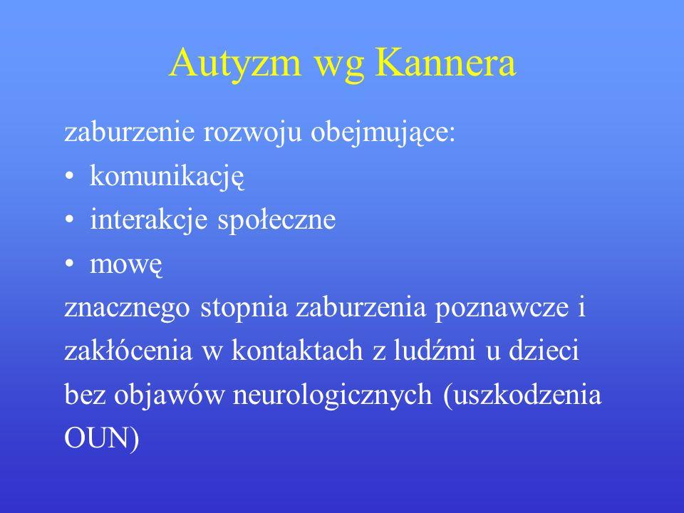 Autyzm wg Kannera zaburzenie rozwoju obejmujące: komunikację interakcje społeczne mowę znacznego stopnia zaburzenia poznawcze i zakłócenia w kontaktac