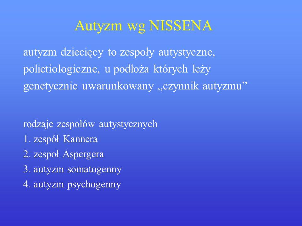 Autyzm wg NISSENA autyzm dziecięcy to zespoły autystyczne, polietiologiczne, u podłoża których leży genetycznie uwarunkowany czynnik autyzmu rodzaje z