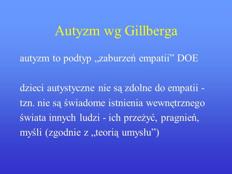 Autyzm wg Gillberga autyzm to podtyp zaburzeń empatii DOE dzieci autystyczne nie są zdolne do empatii - tzn. nie są świadome istnienia wewnętrznego św