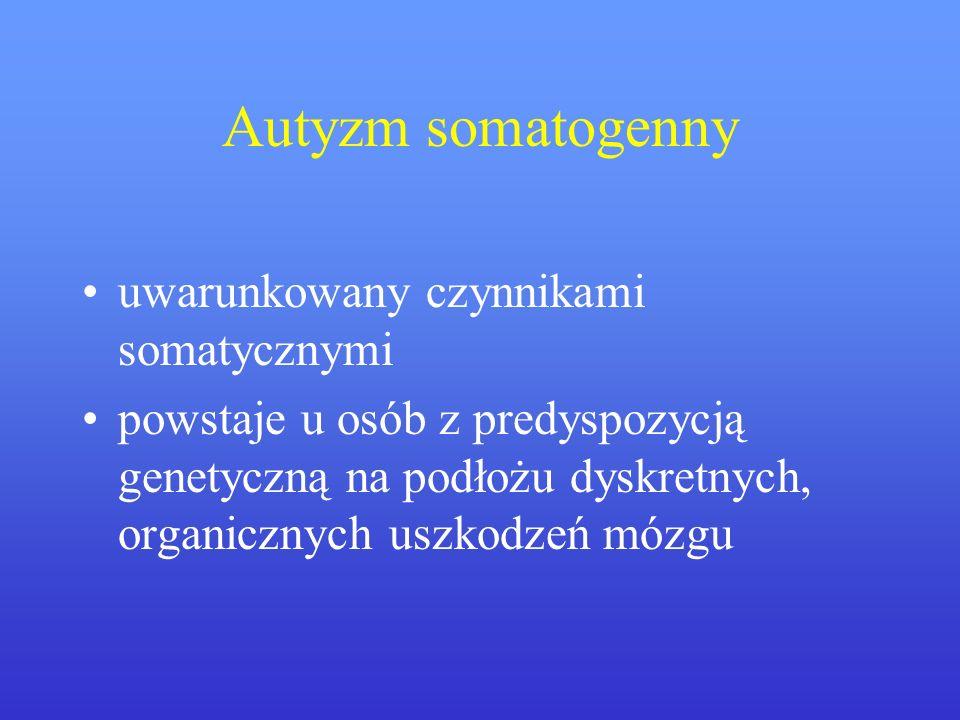 Autyzm somatogenny uwarunkowany czynnikami somatycznymi powstaje u osób z predyspozycją genetyczną na podłożu dyskretnych, organicznych uszkodzeń mózg
