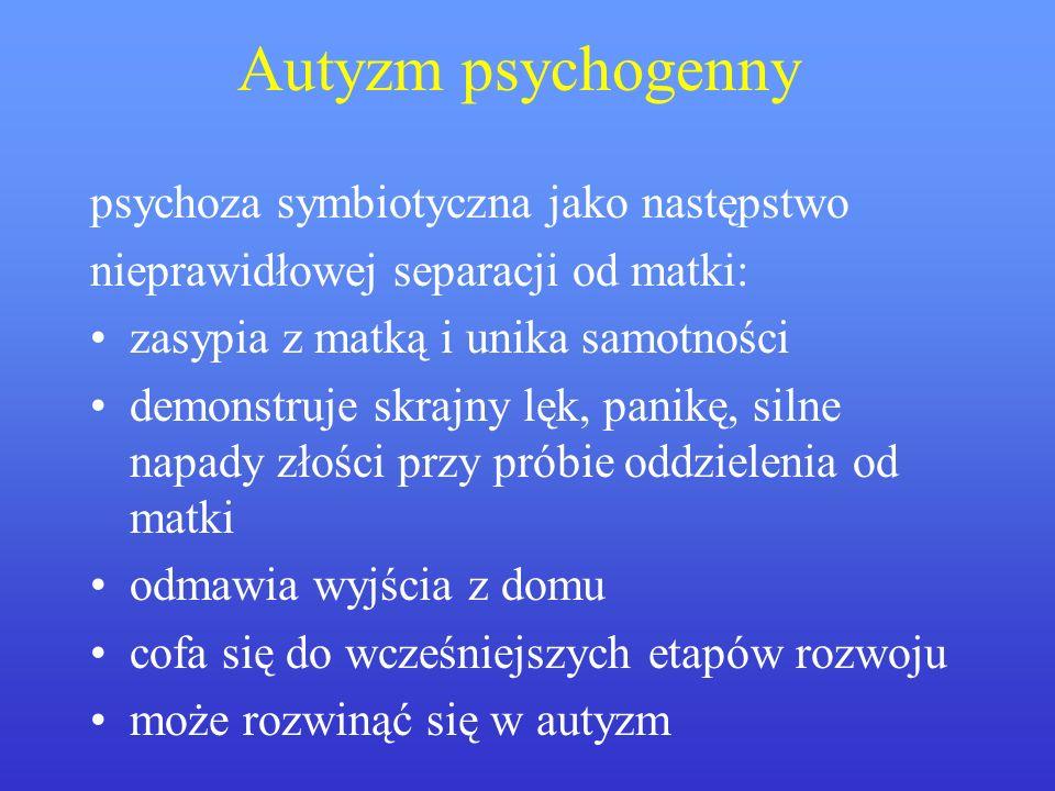 Autyzm psychogenny psychoza symbiotyczna jako następstwo nieprawidłowej separacji od matki: zasypia z matką i unika samotności demonstruje skrajny lęk