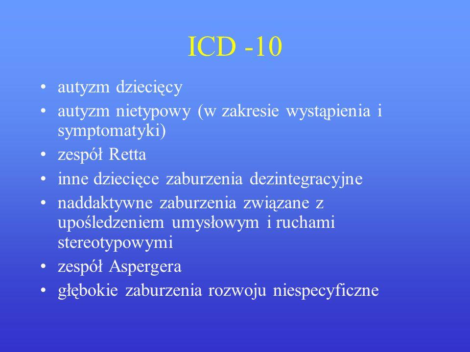 ICD -10 autyzm dziecięcy autyzm nietypowy (w zakresie wystąpienia i symptomatyki) zespół Retta inne dziecięce zaburzenia dezintegracyjne naddaktywne z