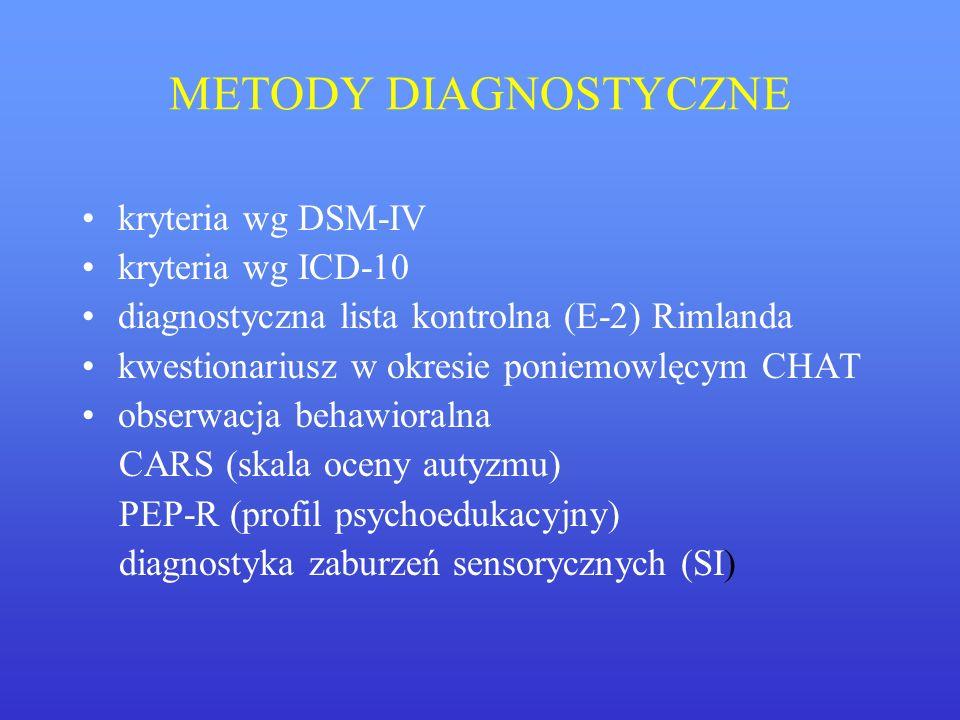 METODY DIAGNOSTYCZNE kryteria wg DSM-IV kryteria wg ICD-10 diagnostyczna lista kontrolna (E-2) Rimlanda kwestionariusz w okresie poniemowlęcym CHAT ob