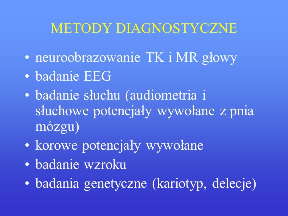 METODY DIAGNOSTYCZNE neuroobrazowanie TK i MR głowy badanie EEG badanie słuchu (audiometria i słuchowe potencjały wywołane z pnia mózgu) korowe potenc