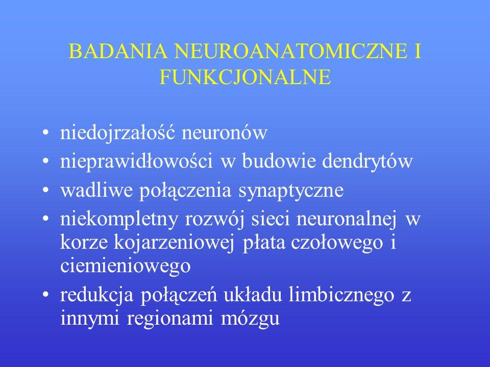 BADANIA NEUROANATOMICZNE I FUNKCJONALNE niedojrzałość neuronów nieprawidłowości w budowie dendrytów wadliwe połączenia synaptyczne niekompletny rozwój