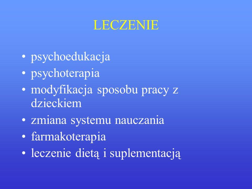 LECZENIE psychoedukacja psychoterapia modyfikacja sposobu pracy z dzieckiem zmiana systemu nauczania farmakoterapia leczenie dietą i suplementacją