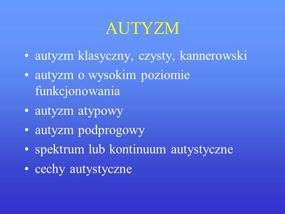 AUTYZM autyzm klasyczny, czysty, kannerowski autyzm o wysokim poziomie funkcjonowania autyzm atypowy autyzm podprogowy spektrum lub kontinuum autystyc