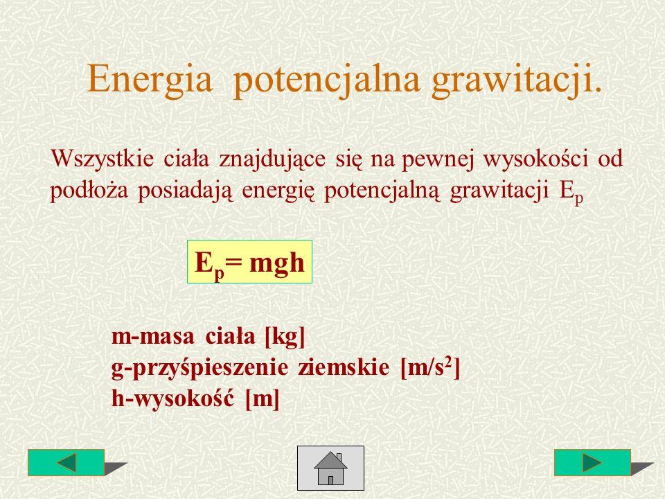 Energia potencjalna grawitacji. Wszystkie ciała znajdujące się na pewnej wysokości od podłoża posiadają energię potencjalną grawitacji E p E p = mgh m
