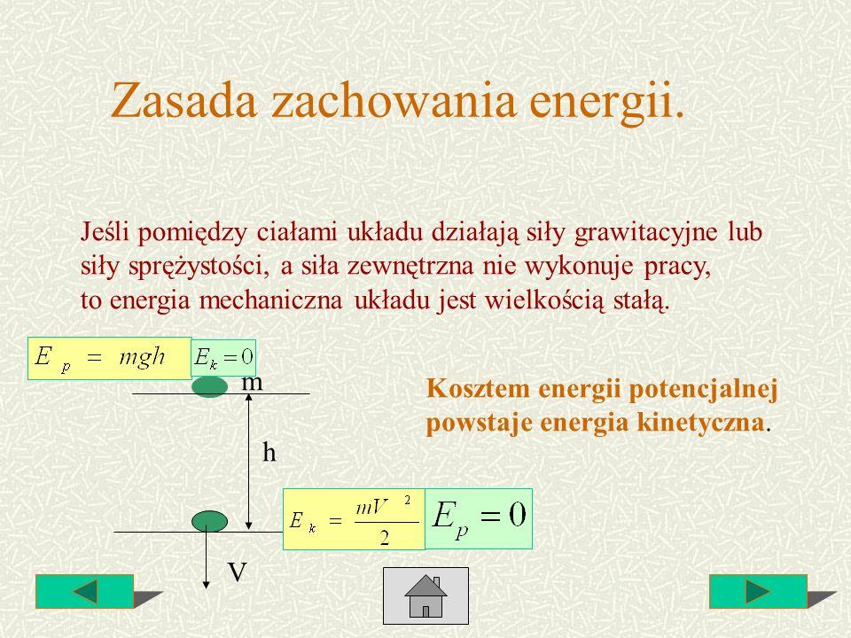 Zasada zachowania energii. Jeśli pomiędzy ciałami układu działają siły grawitacyjne lub siły sprężystości, a siła zewnętrzna nie wykonuje pracy, to en