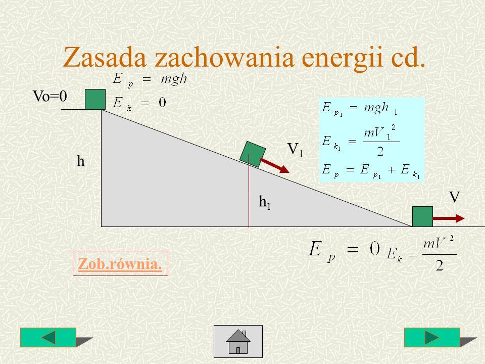 Zasada zachowania energii cd. h V Vo=0 h1h1 V1V1 Zob.równia.