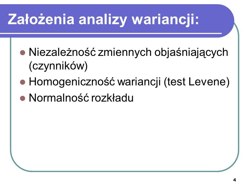 4 Założenia analizy wariancji: Niezależność zmiennych objaśniających (czynników) Homogeniczność wariancji (test Levene) Normalność rozkładu
