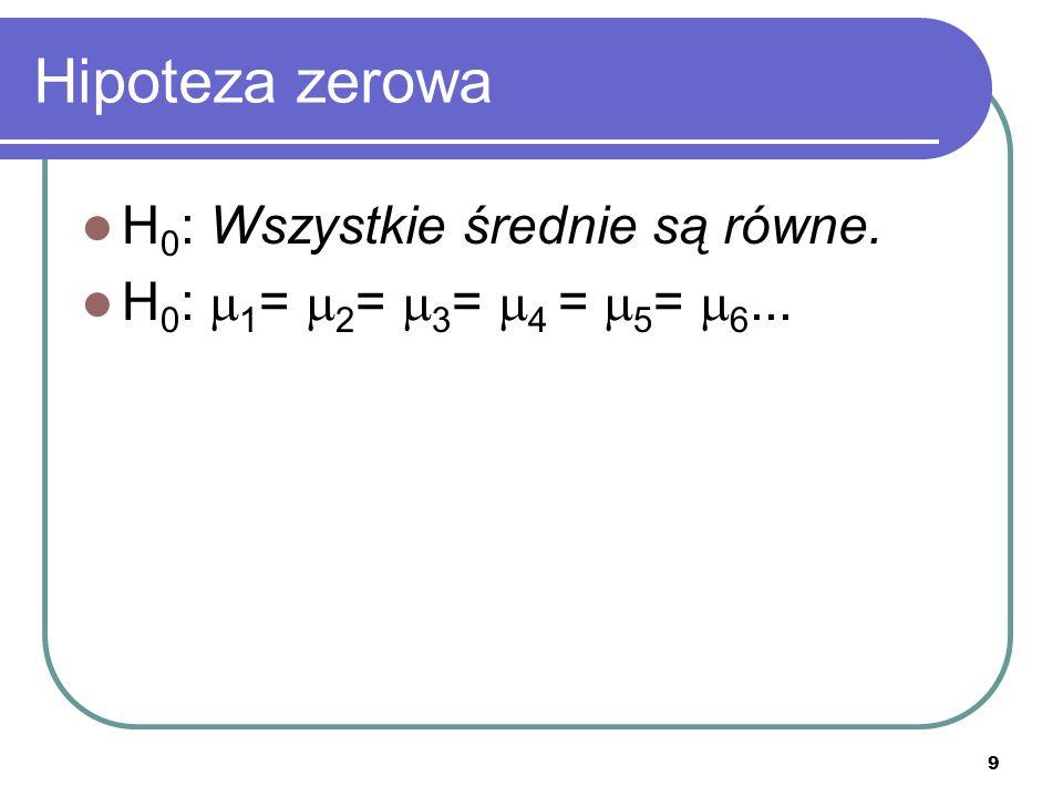 9 Hipoteza zerowa H 0 : Wszystkie średnie są równe. H 0 : 1 = 2 = 3 = 4 = 5 = 6...