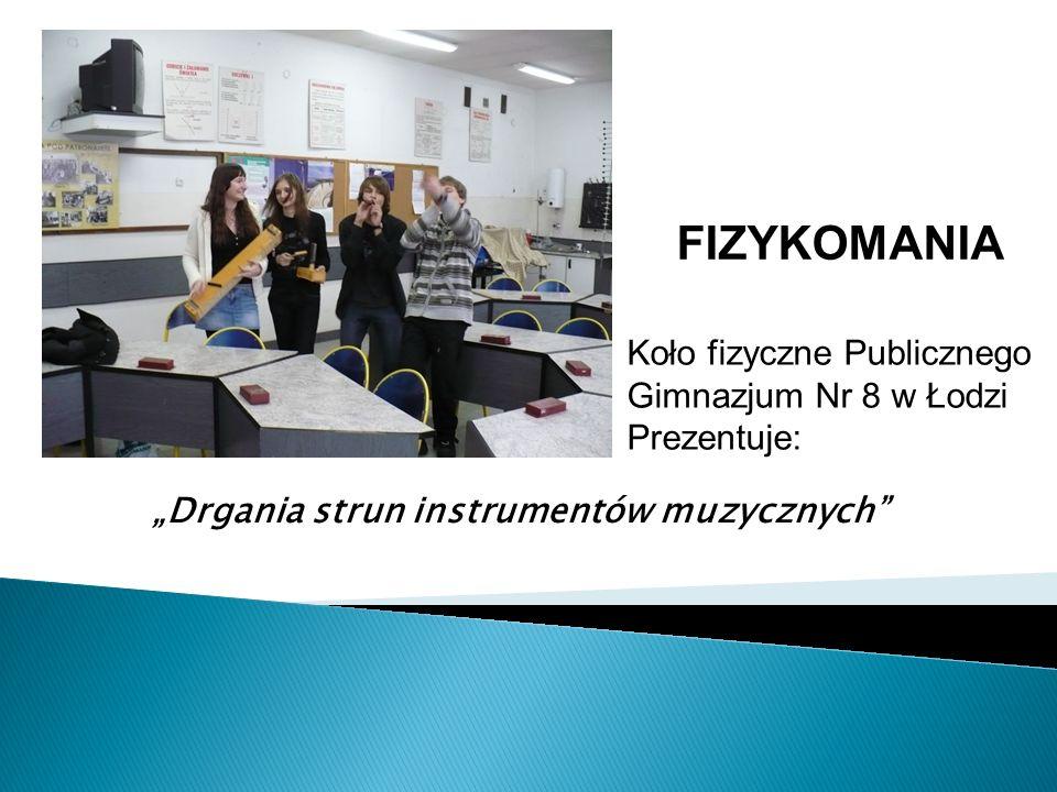 Drgania strun instrumentów muzycznych Koło fizyczne Publicznego Gimnazjum Nr 8 w Łodzi Prezentuje: FIZYKOMANIA
