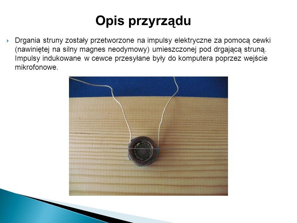Drgania struny zostały przetworzone na impulsy elektryczne za pomocą cewki (nawiniętej na silny magnes neodymowy) umieszczonej pod drgającą struną.