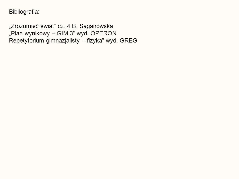 Bibliografia: Zrozumieć świat cz. 4 B. Saganowska Plan wynikowy – GIM 3 wyd. OPERON Repetytorium gimnazjalisty – fizyka wyd. GREG